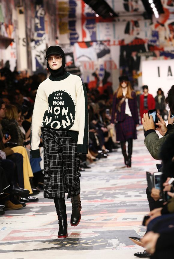 A model wears a creation for Christian Dior's ready-to-wear fall/winter 2018/2019 fashion collection.
