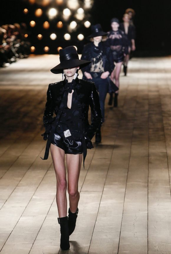 A model wears a creation for Saint Laurent's ready-to-wear fall/winter 2018/2019 fashion collection.