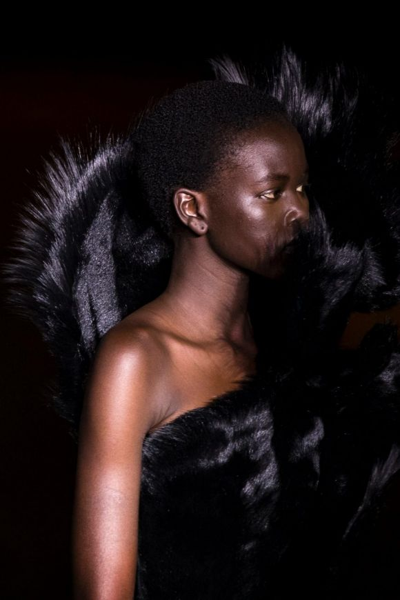 South Sudanese Australian refugee and model Adut Akech presents a creation from the Fall/ Winter 2018/2019 Women Ready ...