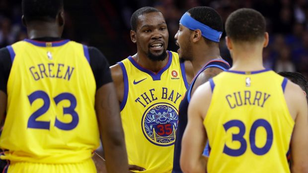 No regrets: Kevin Durant, centre, and the rest of the Warriors declined to visit the White House.