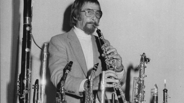 Multi-instrumentalist Errol Buddle in 1979 with the forest of instruments that he played.