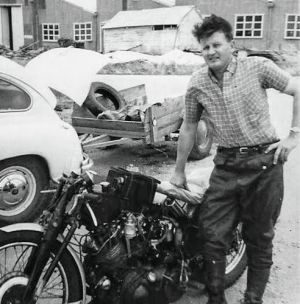 A youthful Eric Nelson, in about 1955, with his Vincent HRD in Adelaide.