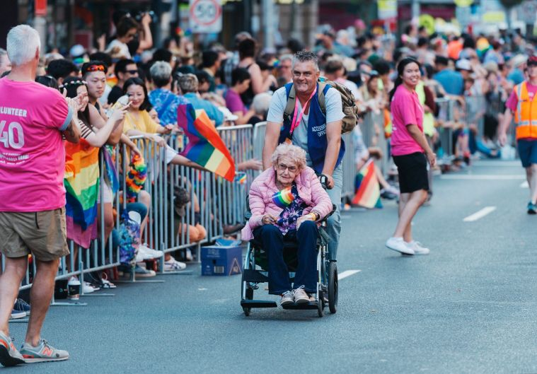 Incredible 98 year old Daphne Dunne, straight - but here to support her gay friends.