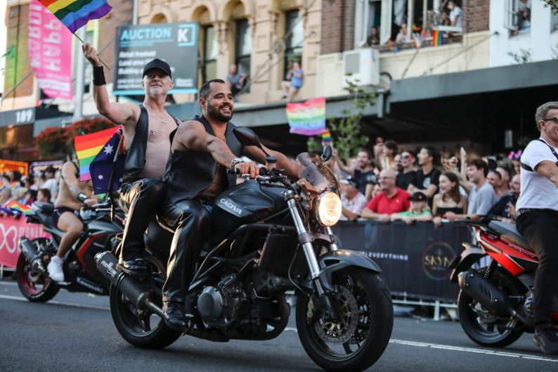 Dykes and Boys on Bikes at the 2018 Mardi Gras.