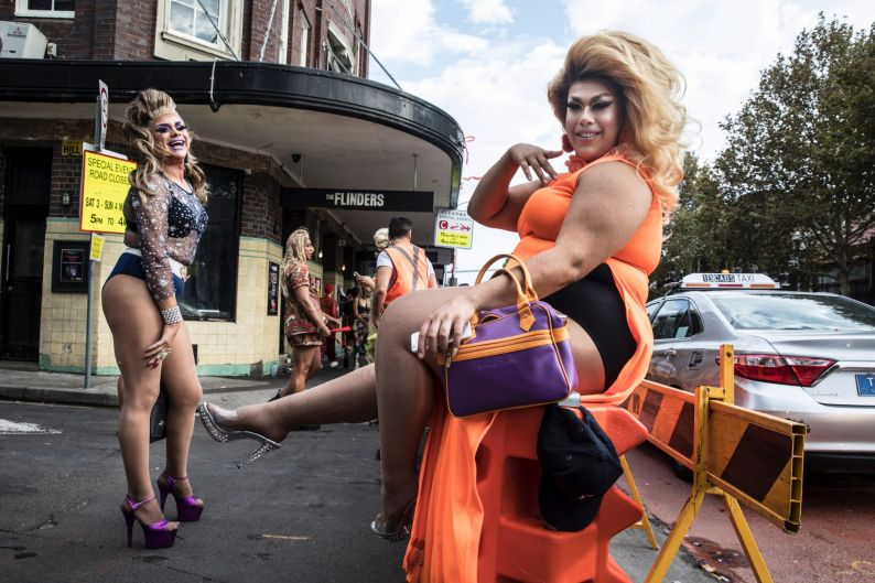 The morning after the 40th Sydney Mardi Gras, Drag Queens ham it up for the camera by the Flinders Hotel Darlinghurst.