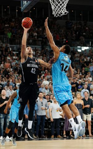 Powering up: United forward Tai Wesley gets a shot away against the Breakers in game one of the semi-final series.
