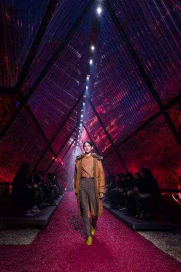 A model wears a creation for Hermes'sfall/winter 2018/2019 fashion collection presented in Paris.