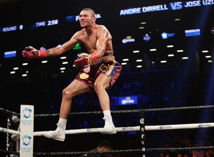 Jose Uzcategui celebrates after his fight with Andre Dirrell was stopped during the ninth round of an interim IBF super ...
