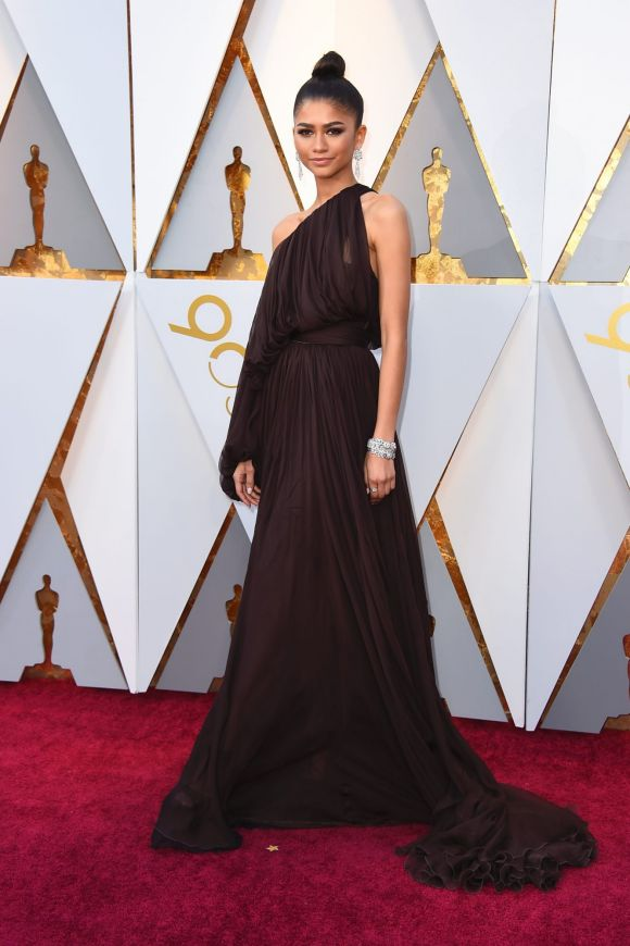 Zendaya arrives at the Oscars on Sunday, March 4, 2018, at the Dolby Theatre in Los Angeles.