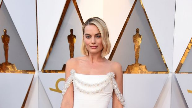 All white ... Margot Robbie in Chanel at the Oscars.