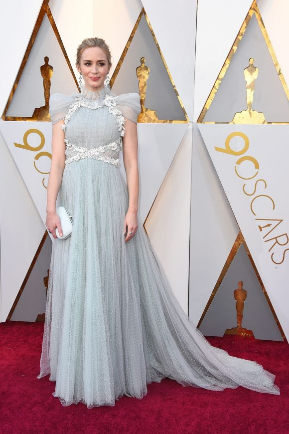 Emily Blunt arrives at the Oscars on Sunday, March 4, 2018, at the Dolby Theatre in Los Angeles.
