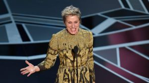 "Frances McDormand accepts the award for best performance by an actress in a leading role for ""Three Billboards Outside ..."