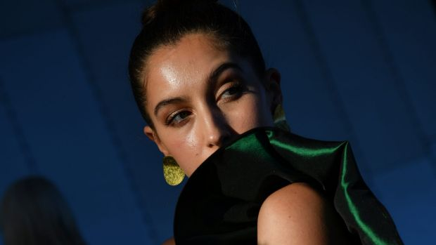 Green with envy ... Indianna Roehrich at the Melbourne Fashion Festival.
