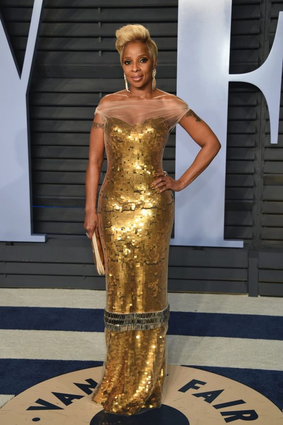 Mary J. Blige arrives at the Vanity Fair Oscar Party on Sunday, March 4, 2018, in Beverly Hills, California.
