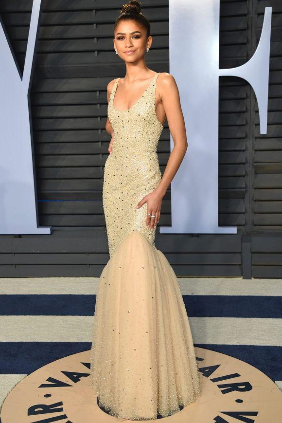 Zendaya arrives at the Vanity Fair Oscar Party on Sunday, March 4, 2018, in Beverly Hills, California.