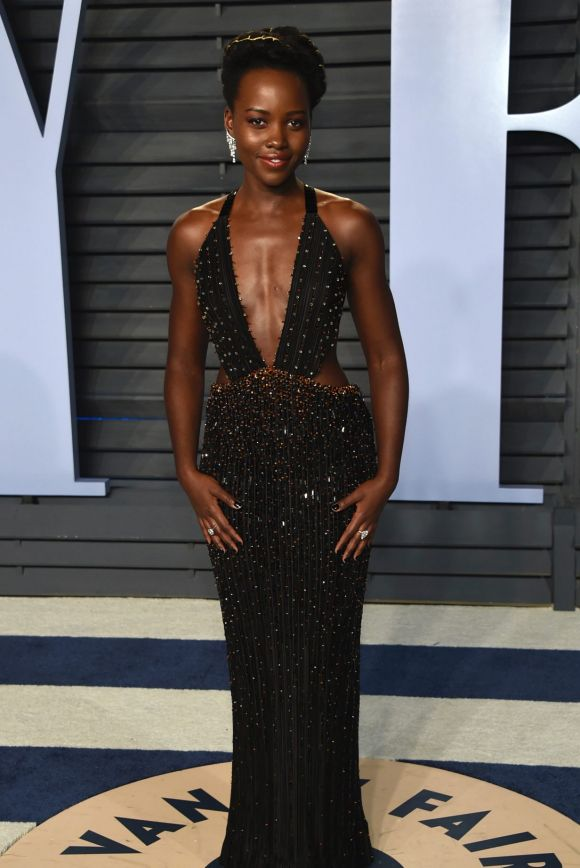 Lupita Nyong'o arrives at the Vanity Fair Oscar Party on Sunday, March 4, 2018, in Beverly Hills, California.