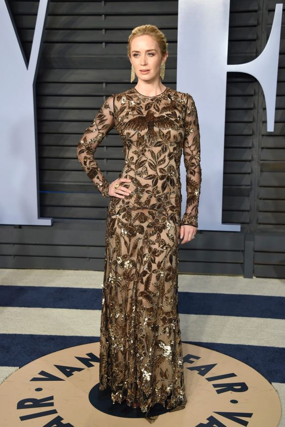 Emily Blunt arrives at the Vanity Fair Oscar Party on Sunday, March 4, 2018, in Beverly Hills, California.