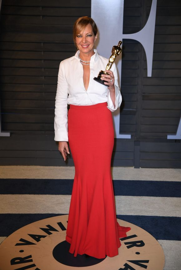 Allison Janney arrives at the Vanity Fair Oscar Party on Sunday, March 4, 2018, in Beverly Hills, California.