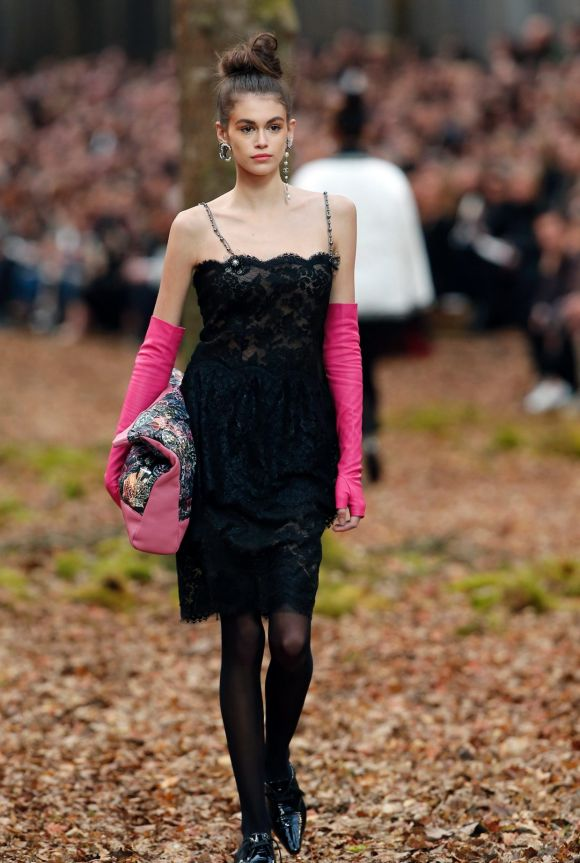 Model Kaia Gerber wears a creation for the Chanel ready-to-wear fall/winter 2018/2019 fashion collection