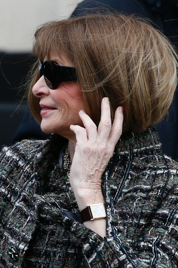 Anna Wintour arrives at Chanel ready-to-wear fall/winter 2018/2019 fashion collection.