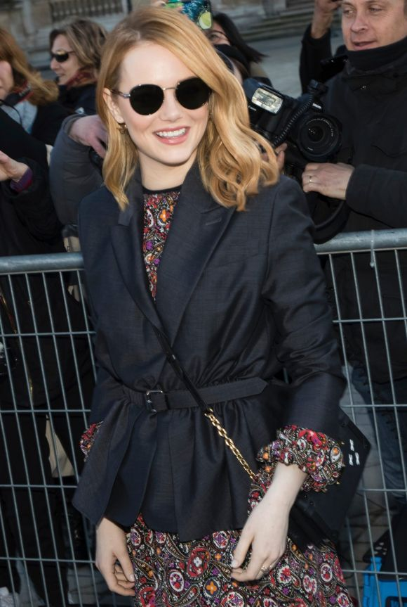 Emma Stone arrives at the Louis Vuitton ready-to-wear fall/winter 2018/2019 fashion collection.