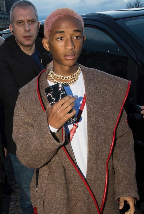Jaden Smith arrives at the Louis Vuitton ready-to-wear fall/winter 2018/2019 fashion collection presented in Paris.