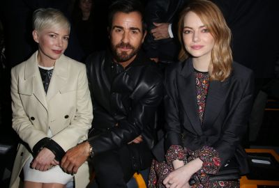 Michelle Williams, Justin Theroux and Emma Stone attending the Louis Vuitton show as part of the Paris Fashion Week ...