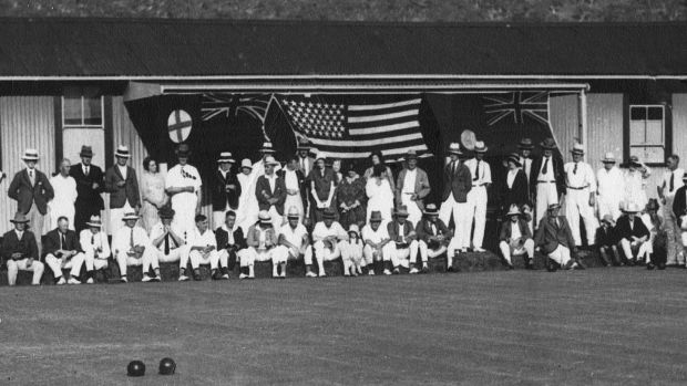 Bowlers at the unofficial opening of the Canberra City Bowling Club in 1926 or 1927.
