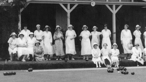 Ladies bowlers at the Canberra City Bowling Club in its early days.