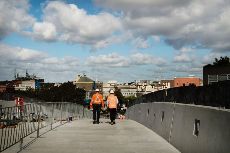 Sydney Yard Access Bridge is being constructed to facilitate the work on Central Station.