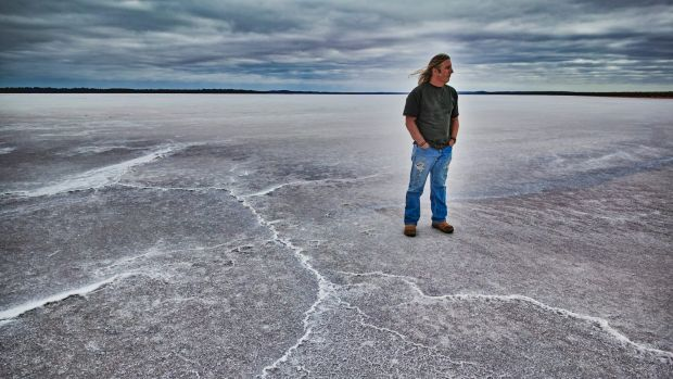 """Tim Winton in Lake Dundas, in WA: """"The thing about West Australia is that there is nothing between us and Antarctica. ..."""