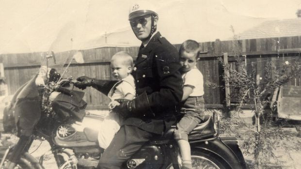 Tim Winton (at rear) with brother Michael and father John in Karrinyup, north Perth, circa 1965, not long before his ...