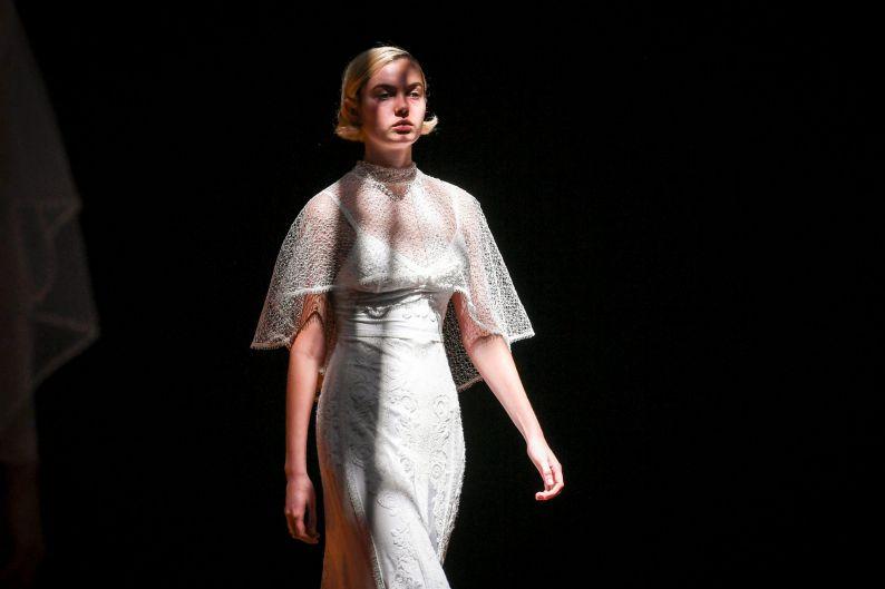 Models walk for the VAMFF bridal fashion show.