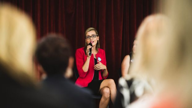 Dr Skye Saunders speaks at an International Women's Day event this week.