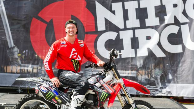 Motocross rider Harry Bink was the first person in the world to land a rock solid front flip at the Nitro world games ...