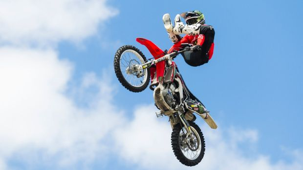 Canberra's Harry Bink flies five storeys in the air as he rehearses for Nitro Circus's 'The Next Level' show on Saturday.