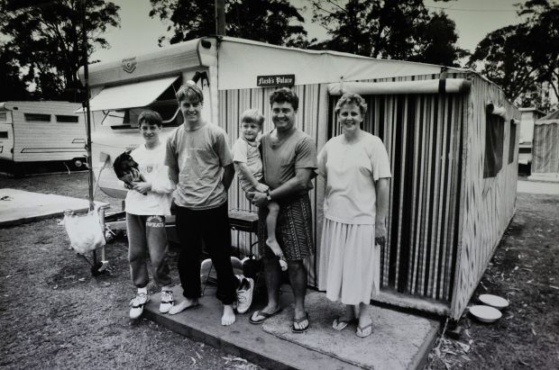 Wayne and Dianne Flaherty, of Lyons, with their children Scott, Anthony and Mitchell at the Pacific View caravan Park at ...
