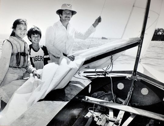 Christine McCombie,11, and her brother John, 12, help their father Robert McCrombie, of Stirling, rig their Seafly boat ...