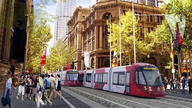 An artist's impression of George Street once the cars are removed, the light rail moves in and pedestrians walk to their ...