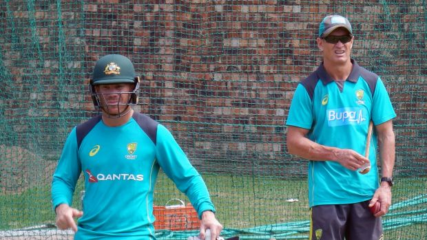 David Warner, who was at the centre of the storm in Durban, with batting coach Graeme Hick during a training session ...