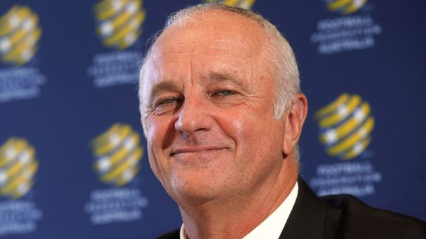 Graham Arnold at the press conference to announce his appointment as long-term Socceroos coach.
