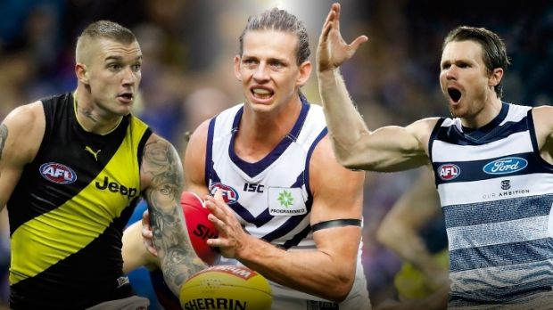 Choose wisely: Fantasy guns Dustin Martin, Nat Fyfe and Patrick Dangerfield.