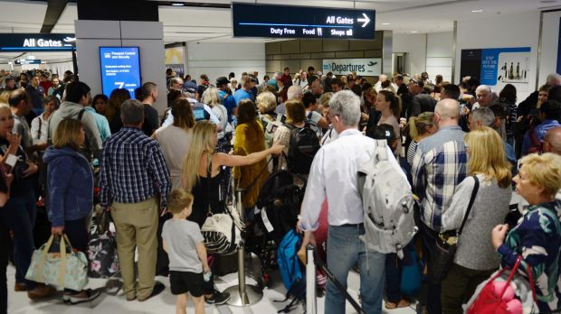 Passengers at the international terminal were not able to go through border security due to a technical issue.