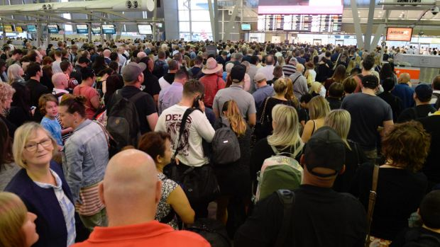 Thousands of passengers were stuck in the check-in section of the domestic terminal after the technical issue.