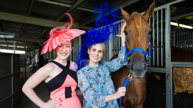 Canberra radio royalty Kristen Henry (left) and Beth Larsen with Black Opal Stakes entrant Sizzling Belle.