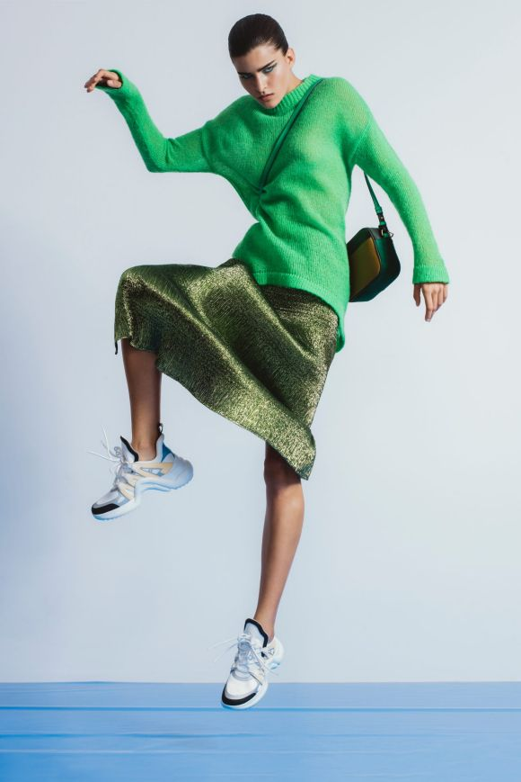 """Georgia Alice """"Slime"""" knit, $480, and """"Magic Pencil"""" skirt, $600. Louis Vuitton """"Archlight"""" sneakers, $1490 ..."""