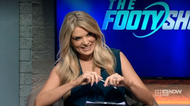 Host Erin Molan laughs off the gaffe.