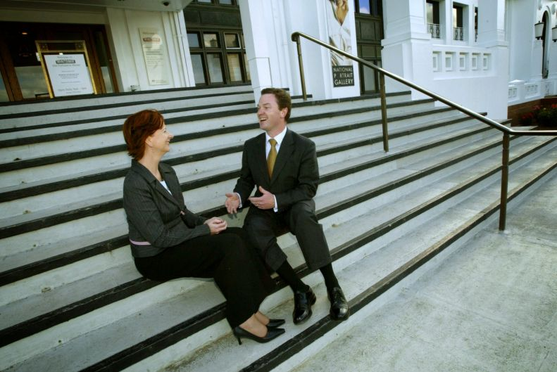 Shadow Health Minister Julia Gillard and MP Christopher Pyne at Old Parliament House in Canberra, Thursday November 10 2005.