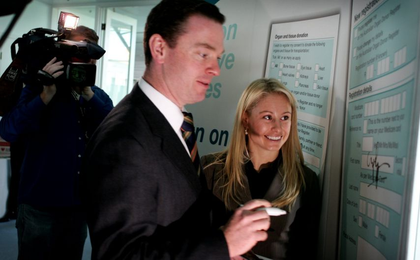Parliamentary Secretary to the Minister for Health and Ageing Christopher Pyne with former Winter Olympic Gold Medal ...