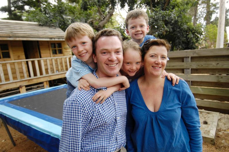 Christopher Pyne with wife Carolyn, 6 year old twins Barnaby and Eleanor, and 4 year old Felix, Sunday 18th of March 2007.